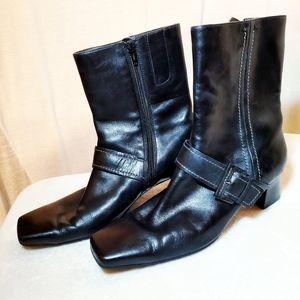 Ecco Black Leather Square Toe Buckle Boots 41